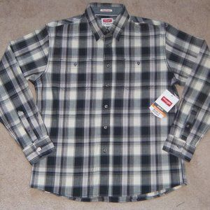 New Mens Wrangler Premium Slim Fit Plaid Shirt L